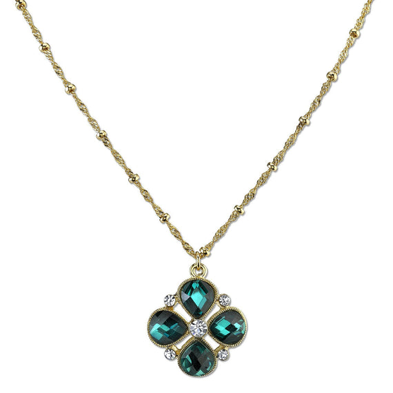 Fashion Jewelry - Carded Gold Tone Blue Zircon Color Flower Pendant Necklace 16 Adj.