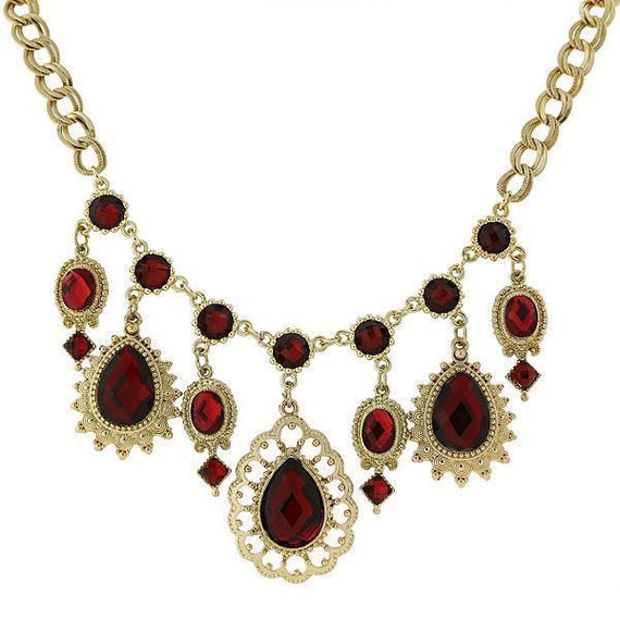 Gold-Tone Red Statement Pearshape Drop Necklace 16 Adj.