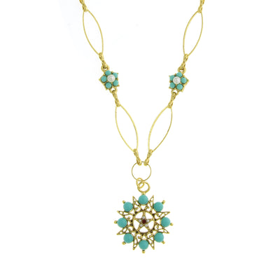 Gold Tone Turquoise Blue Red Costume Cultura Pearl Necklace 20 In