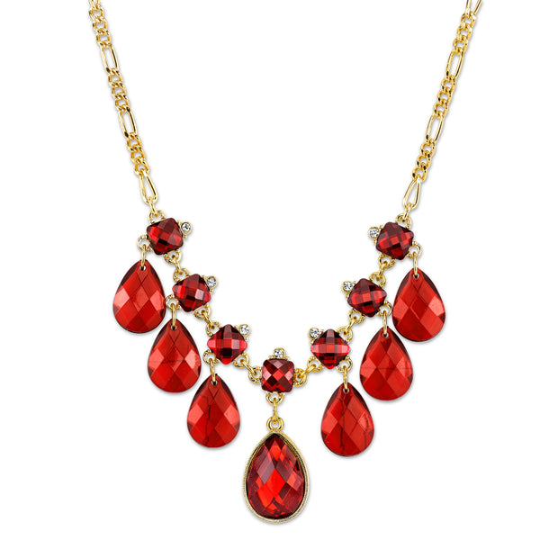Gold-Tone Red with Crystal Accent Bib Pearshape Drop Necklace 16 In Adj