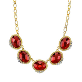 Gold-Tone Red with Crystal Accent Oval Faceted Station Collar Necklace 16 In Adj