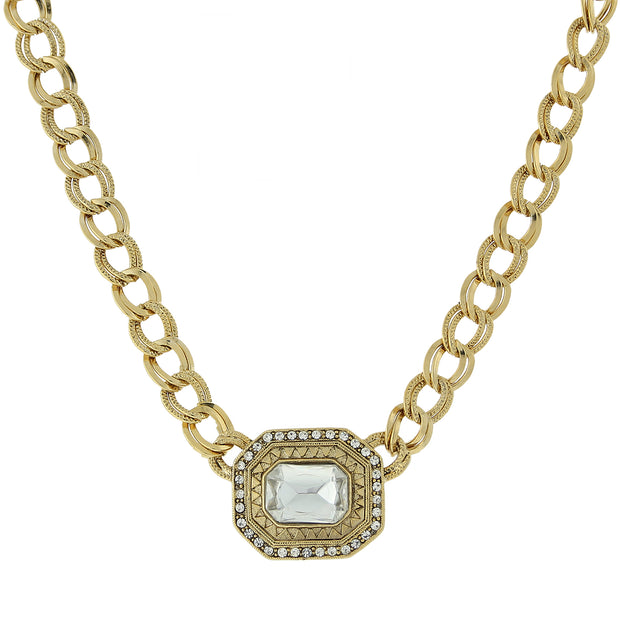 Gold-Tone Crystal Octagon Pendant Curb Link Necklace 16 In Adj