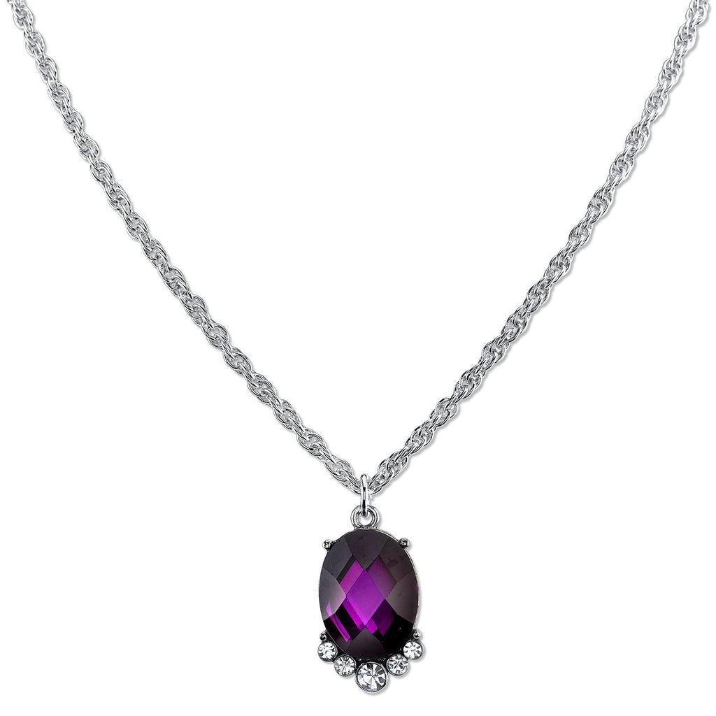 Carded Silver-Tone Amethyst Purple Color Faceted Necklace 16 Adj.