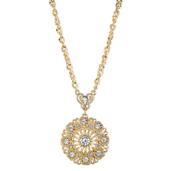 Fashion Jewelry - 2028 Gold Elegance Gold-Tone Crystal Round Pendant Necklace