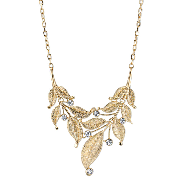 Gold-Tone Crystal Leaf Statement Necklace 16 - 19 Inch Adjustable