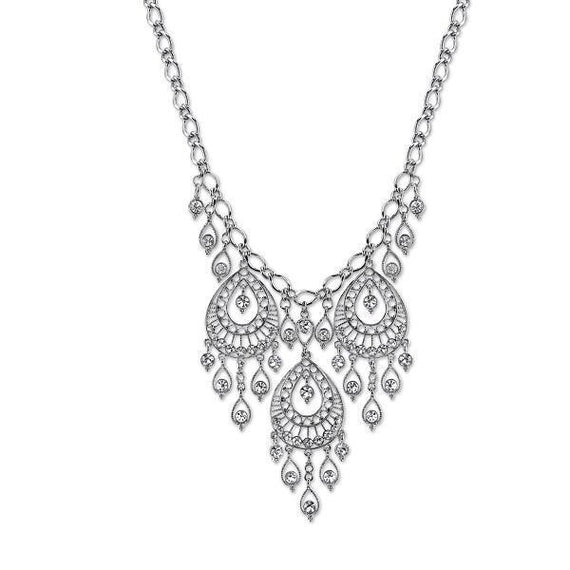 Fashion Jewelry - 2028 Elegance Silver-Tone Crystal Filigree Drop Statement Necklace