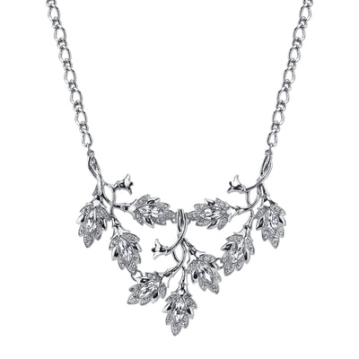 Silver-Tone Genuine Swarovski Crystal Navette Vine Leaf Bib Necklace 16 - 19 Inch Adjustable