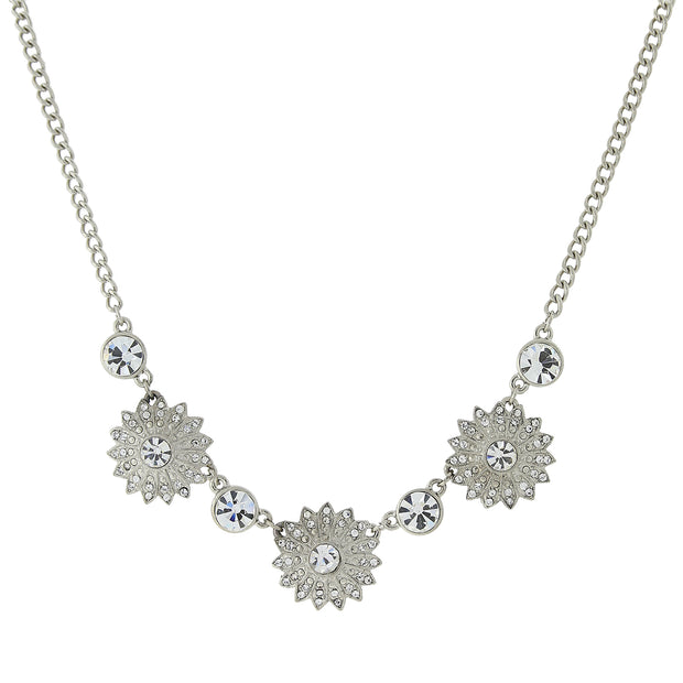 Silver-Tone Crystal Sunburst Collar Necklace 16 In Adj