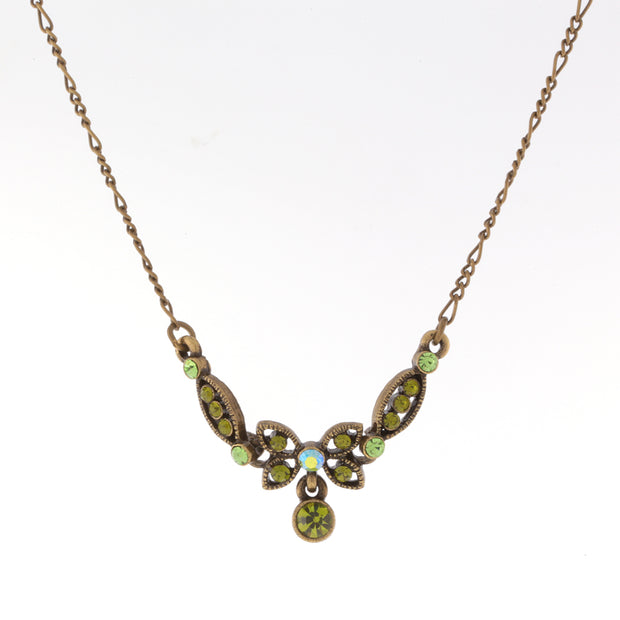 Gold-Tone Green AB Necklace 16 In Adj