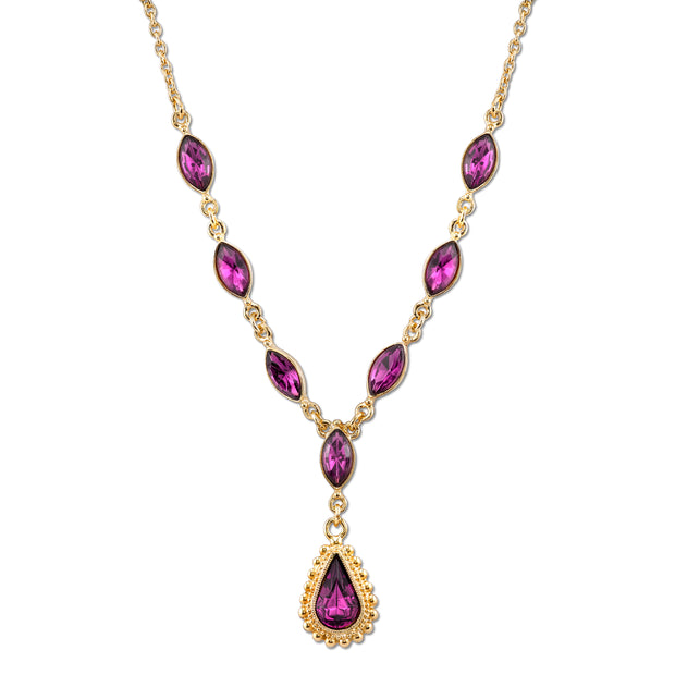 Gold-Tone Amethyst Purple Color Crystal Teardrop Y-Necklace 16 In Adj