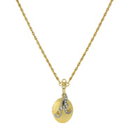 Gold Tone Locket And Silver Tone Crystal Initial Necklace 16   19 Inch Adjustable