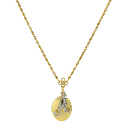Gold-Tone Locket and Silver-Tone Crystal Initial Necklace 16 - 19 Inch Adjustable