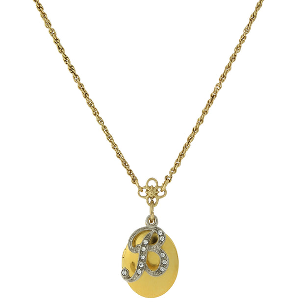 Gold-Tone Locket and Silver-Tone Crystal Initial Necklaces