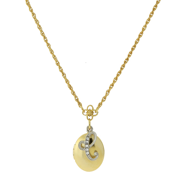Gold Tone Locket And Silver Tone Crystal Initial Necklaces C