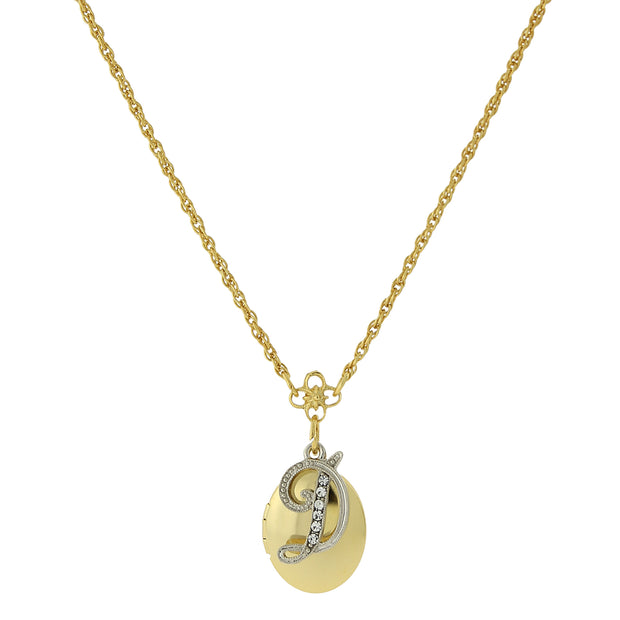 Gold Tone Locket And Silver Tone Crystal Initial Necklaces D