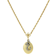 Gold Tone Locket And Silver Tone Crystal Initial Necklaces E