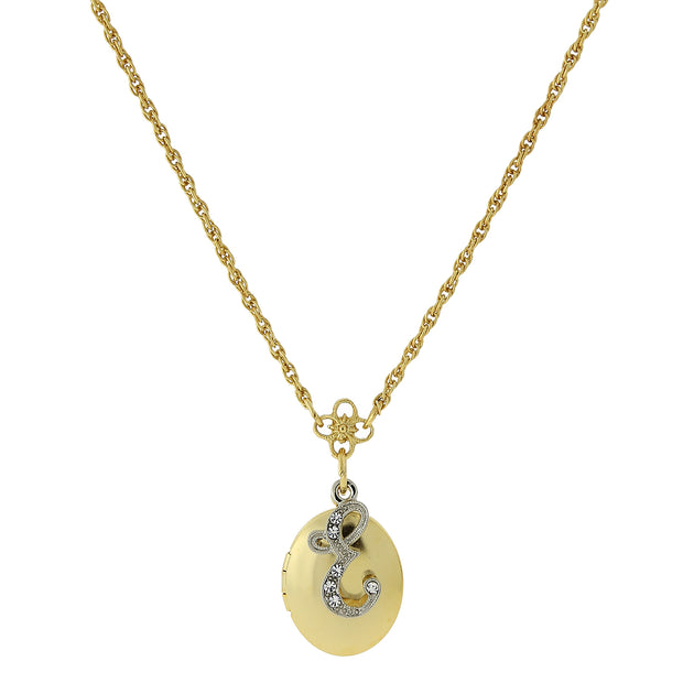 Gold-Tone Locket and Silver-Tone Crystal Initial Necklaces E