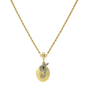 Gold Tone Locket And Silver Tone Crystal Initial Necklaces F