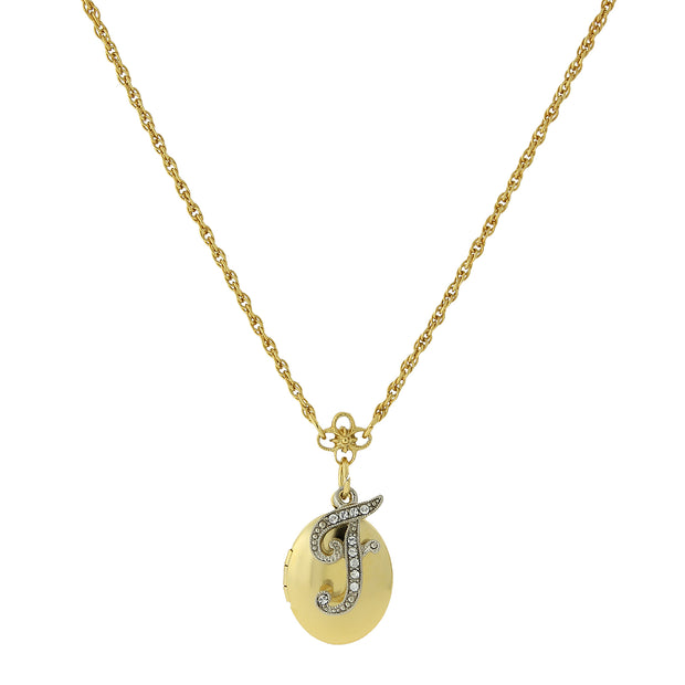 Gold-Tone Locket and Silver-Tone Crystal Initial Necklaces F
