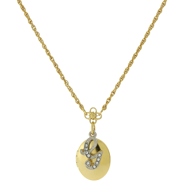 Gold-Tone Locket and Silver-Tone Crystal Initial Necklaces G
