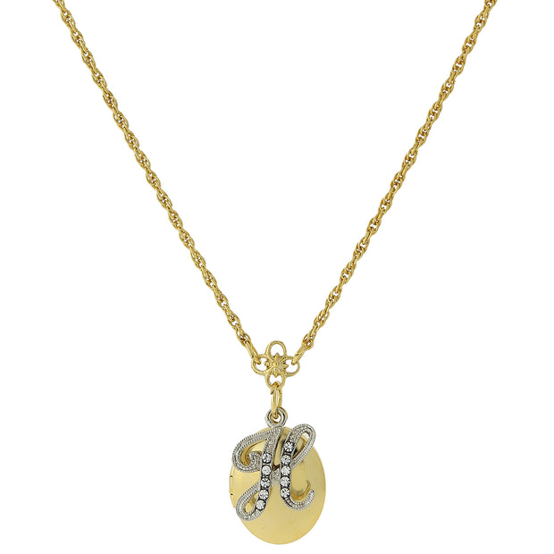 Gold-Tone Locket and Silver-Tone Crystal Initial Necklaces H