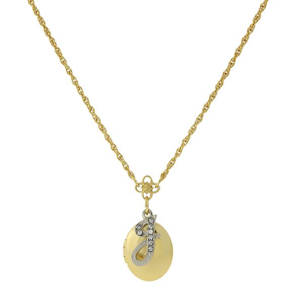 Fashion Jewelry - Gold Tone Locket and Silver Tone Crystal Initial J Necklace 16 Adj.