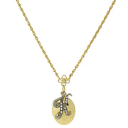 Gold Tone Locket And Silver Tone Crystal Initial Necklaces K