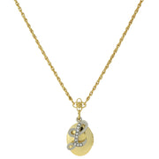 Gold Tone Locket And Silver Tone Crystal Initial Necklaces L
