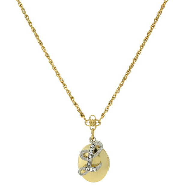 Gold-Tone Locket and Silver-Tone Crystal Initial Necklaces L
