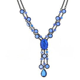 Black-Tone Sapphire Blue Color AB Strand Y-Necklace 16 In Adj