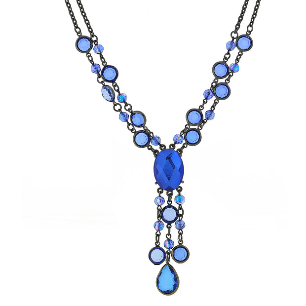 Black-Tone Sapphire Blue Color Ab Strand Y-Necklace 16 - 19 Inch Adjustable