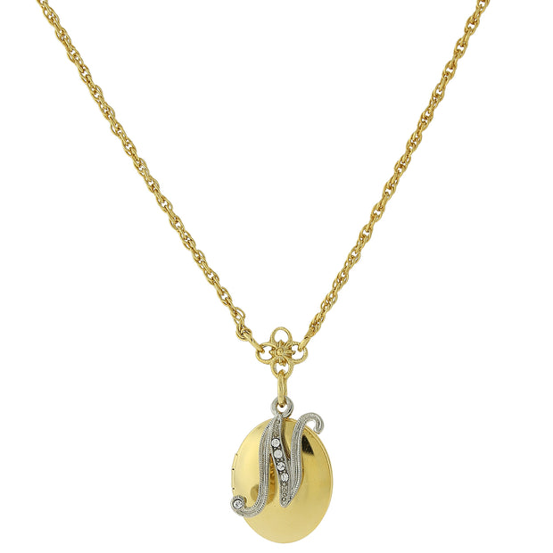 Gold Tone Locket And Silver Tone Crystal Initial Necklaces N