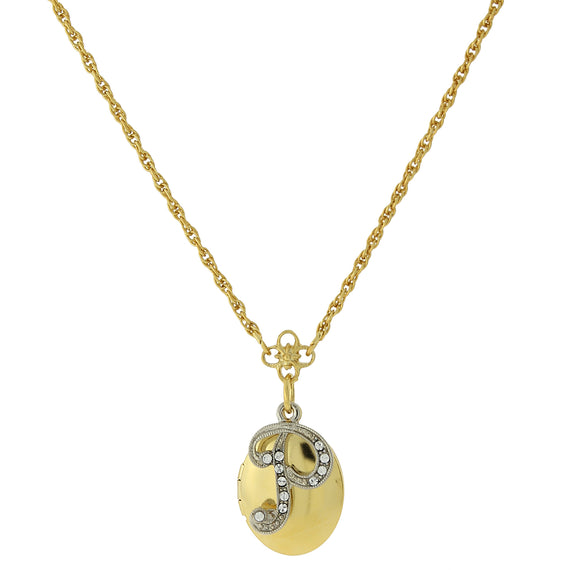 Fashion Jewelry - Gold Tone Locket and Silver Tone Crystal Initial P Necklace 16 Adj.