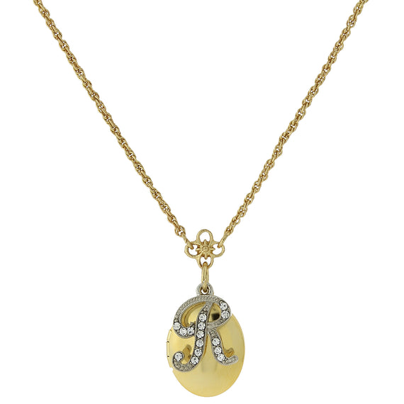 Fashion Jewelry - Gold Tone Locket and Silver Tone Crystal Initial R Necklace 16 Adj.