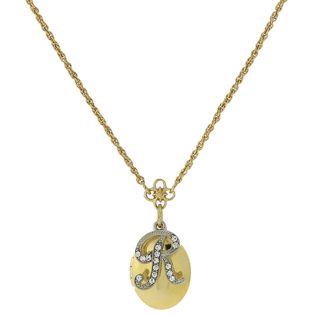 Gold Tone Locket And Silver Tone Crystal Initial Necklaces R
