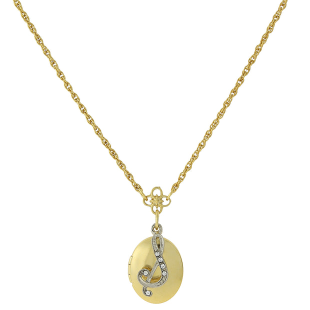 Gold-Tone Locket and Silver-Tone Crystal Initial Necklaces S