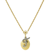 Gold Tone Locket And Silver Tone Crystal Initial Necklaces T