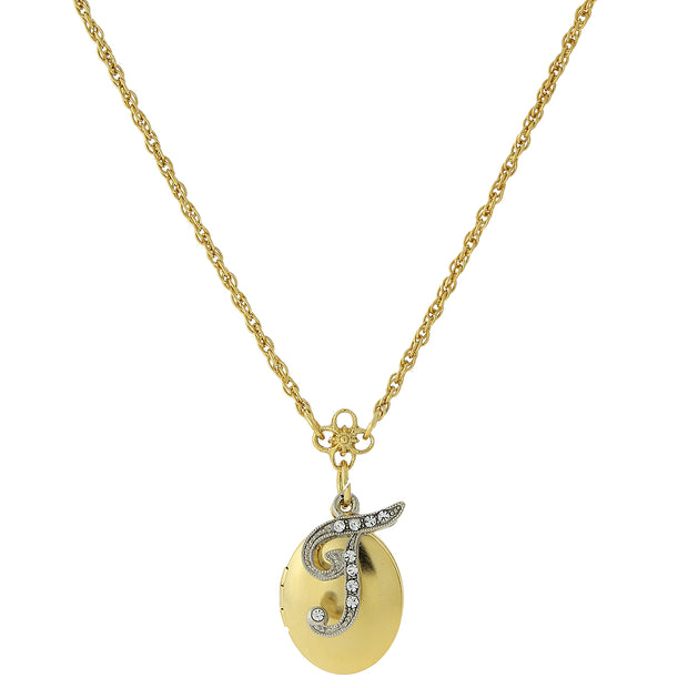Gold-Tone Locket and Silver-Tone Crystal Initial Necklaces T