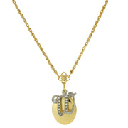 Gold Tone Locket And Silver Tone Crystal Initial Necklaces W