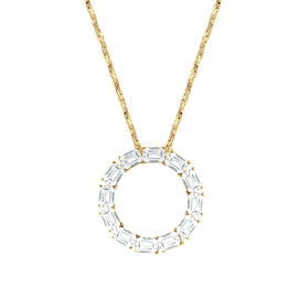 Fashion Jewelry - Gold Tone Pendant Necklace with Swarovski Crystal 18""