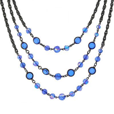 Black-Tone Sapphire Blue AB 3-Strand Necklace 16 In Adj