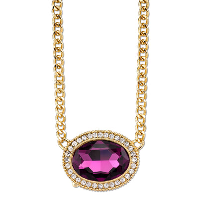 2028 Gold-Tone Amethyst Purple Color Crystal Swarovski Elements Necklace 16 Adj