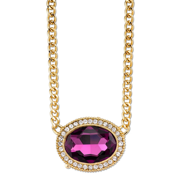 Gold-Tone Amethyst Purple Color Crystal Swarovski Elements Necklace 16 - 19 Inch Adjustable