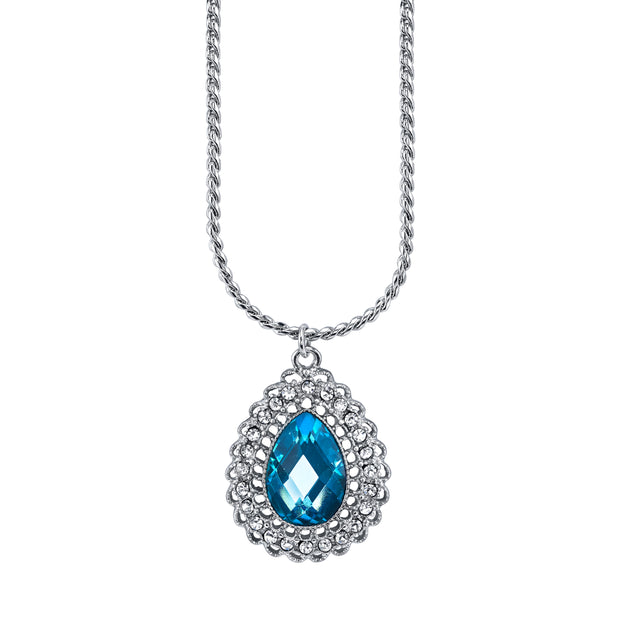 Silver Tone Aqua Blue And Crystal Teardrop Pendant Necklace 16   19 Inch Adjustable