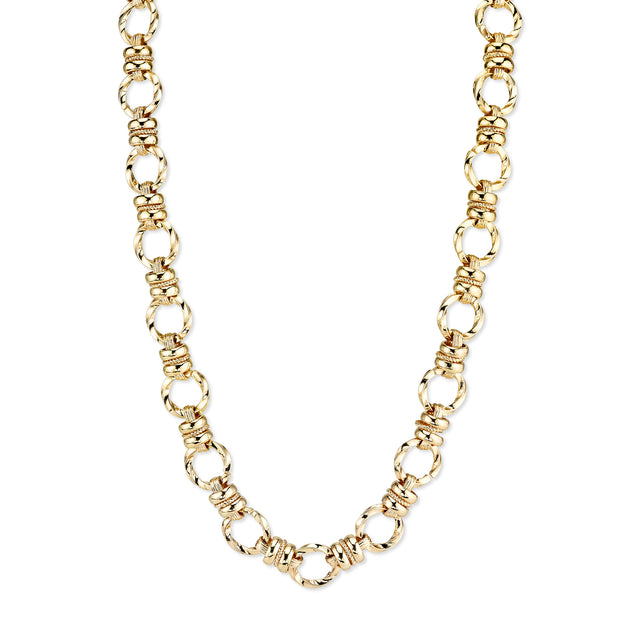 Textured Link Chain Necklace 16 - 19 Inch Adjustable Gold