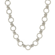 Silver-Tone Textured Link Chain Necklace 16 In Adj
