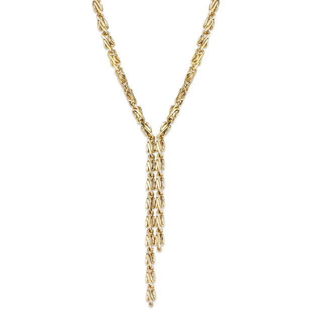 Gold Tone Fancy Link Chain Drop Necklace 16   19 Inch Adjustable