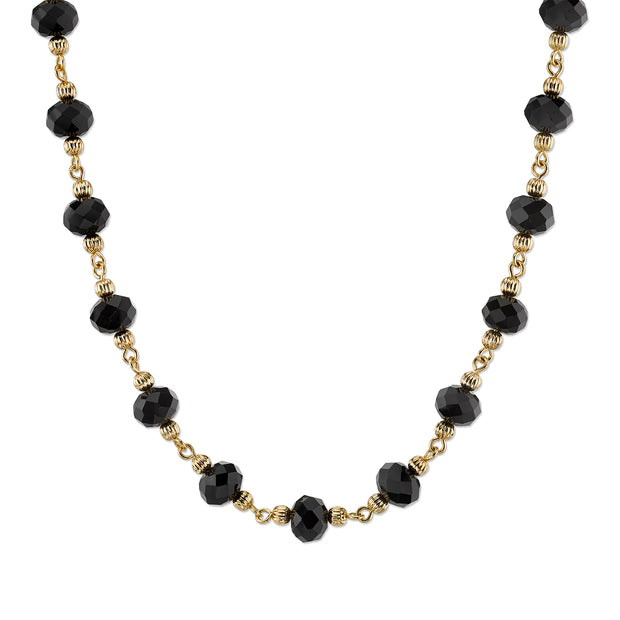 Gold Tone Beaded Necklace 16   19 Inch Adjustable Black