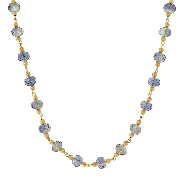 Gold Tone Beaded Necklace 16   19 Inch Adjustable Blue