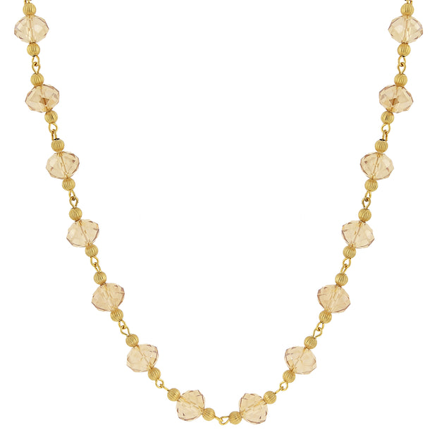 Gold-Tone Lt. Topaz Luster Beaded Necklace 16 In Adj